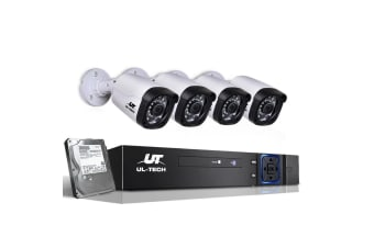 UL-TECH 1080P Four Channel Security System with 4 Cameras & 1TB Hard Drive (Black/White)
