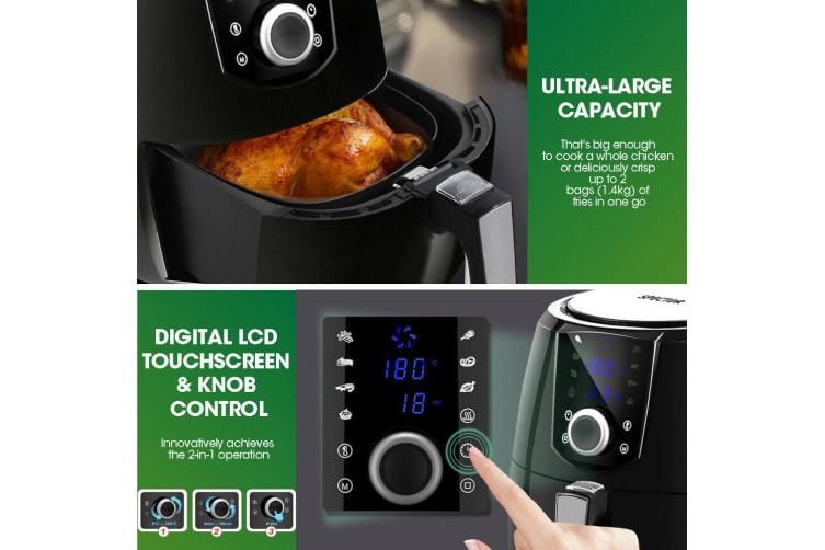 Spector New 7L Air Fryer LCD Health Cooker Low Oil Rapid Deep Frying 1800W Black