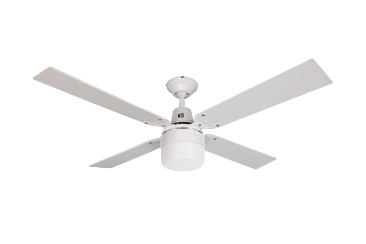 Heller 1200mm Reversible 4 Blade Ceiling Fan with Clipper Light - Cherry Wood/White (COHEN)