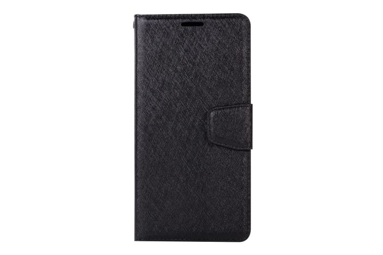 For iPhone XS Max Cover Silk Textured Folio Leather Wallet Holder Case Black
