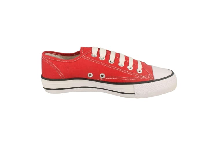 Spot On Womens/Ladies Low Cut Canvas Lace Up Shoes (Red) (4 UK)