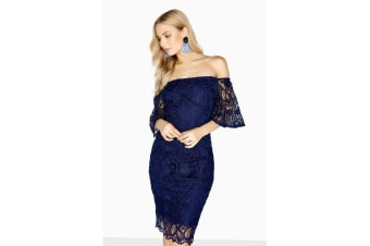 Paper Dolls Womens/Ladies Cambrais Off The Shoulder Lace Dress (Navy)