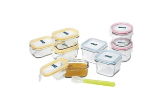 9pc Glasslock Assorted Baby Food Snacks Clear Glass Container Storage w  Spoon