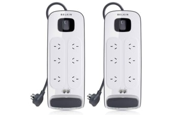 2PK Belkin 6 Way Outlet Surge Protector Power Board/Powerboard/3M Extension Cord