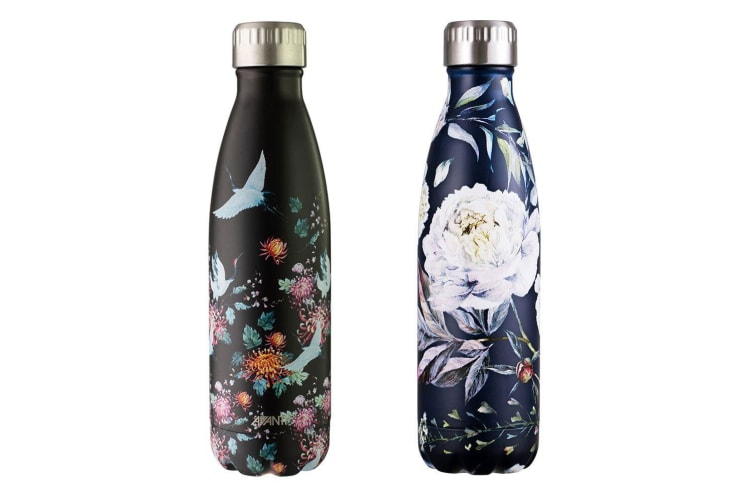 2PK Avanti 500ml Vacuum Water Drink Bottle Crane & Bloom BLK S S Thermo Hot Cold
