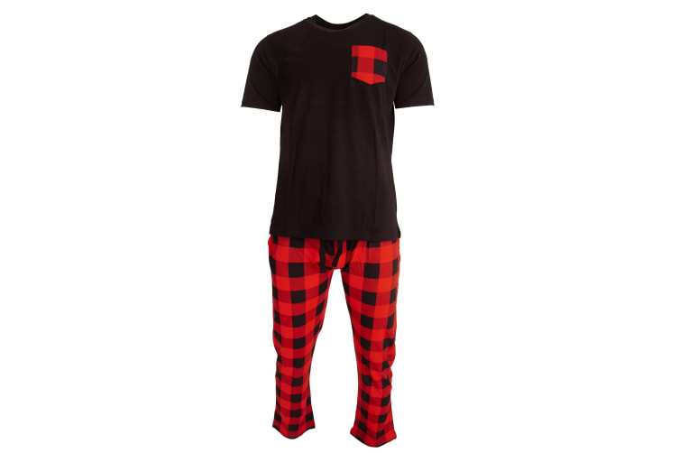 Brave Soul Mens Top And Bottoms Casual Checked Loungewear Set (Black) (XL)