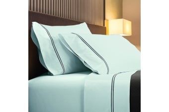 Renee Taylor 1000TC Sorrento Sheet Set Cotton Soft Touch Hotel Quality Bedding - King - Blue Fog