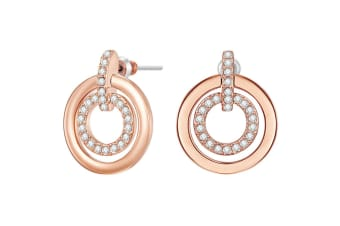 Circle Duo Earrings w/Swarovski Crystals-Rose Gold/Clear