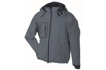 James and Nicholson Mens Winter Softshell Jacket (Carbon Grey) (L)