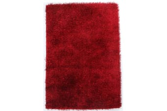 Metallic Noodle Shag Rug Red