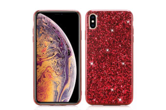 For iPhone XR Case Red Glitter Powder Protective Cover Flexible Body