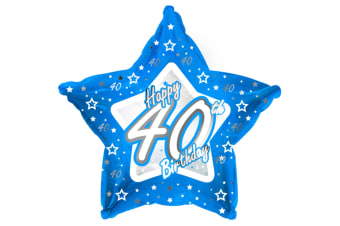 Creative Party Happy 40th Birthday Blue Star Balloon (Blue) (18in)