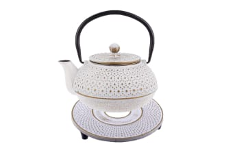 Teaology 600ml Cast Iron Teapot Trivet Set White Japanese Style Tea Pot Kettle