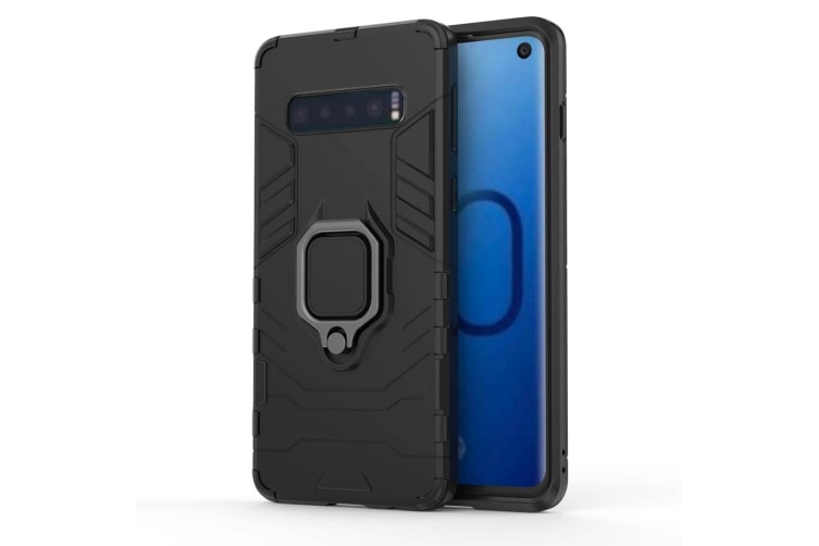new arrival 6c87d b18b9 For Samsung Galaxy S10 Case Black Armour Ring Holder Shockproof Phone Cover