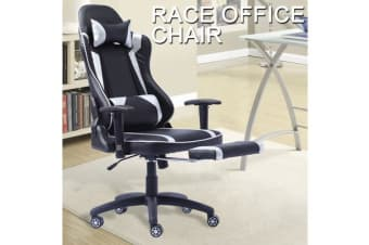 Gaming Racing Office Chair PU Leather with Footrest SILVER