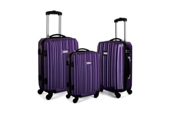 Milano ABS Luxury Shockproof Luggage 3pc Set - Purple