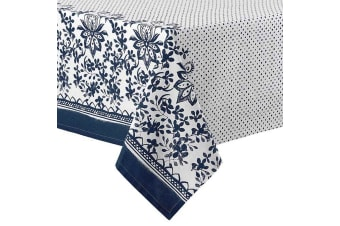 Ladelle Watercolour Floral Tablecloth - Navy 2.25m