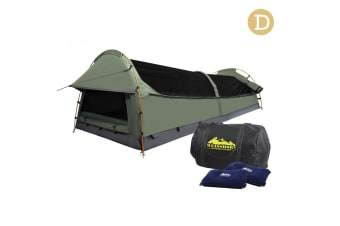 Double Camping Canvas Swag Tent with Air Pillow (Celadon)