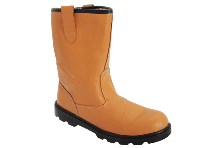 Grafters Mens Leather Safety Rigger Padded Ankle Toe Cap Boots (Tan) (10 UK)
