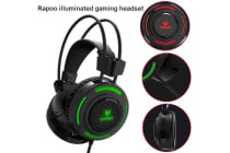 RAPOO VH200 Illuminated RGB Glow Gaming Headsets Black - 16m Colour Breathing Light Hidden Noise-Cancelling Microphones