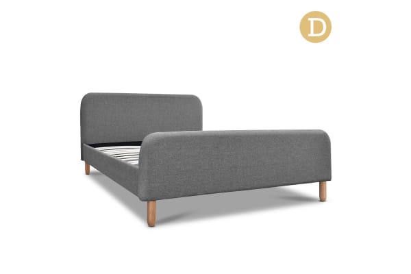 Double Linen Fabric Bed Frame (Grey)