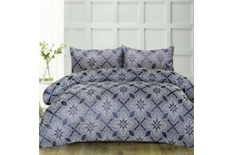 Finesse Navy Quilt Cover Set Queen by Accessorize