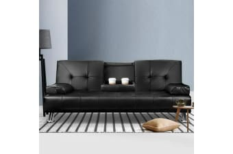 Sofa Bed Lounge Futon Couch Leather 3 Seater Cup Holder Recliner