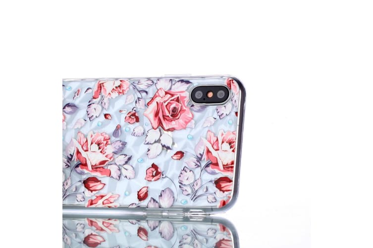 For iPhone XS MAX Cover Shockproof Slim Thin Soft Mobile Phone Case Pink Flower