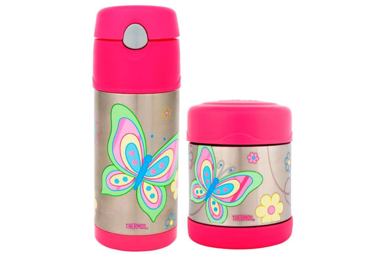 Thermos Funtainer 290ml Food Container + 355ml Drink Bottle Pink Butterfly