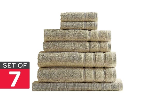 Royal Comfort Set of 7 Eden Egyptian Cotton 600 GSM Towel Pack (Beige)