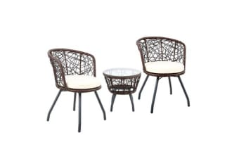 Gardeon Outdoor Patio Chair and Table (Brown)