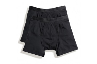 Fruit Of The Loom Mens Classic Boxer Shorts (Pack Of 2) (Black) (S)