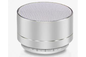 Select Mall Aluminum Alloy Wireless Bluetooth Speakers Outdoor Portable Mini Metal Speaker with LED Lights Support TF Card FM Radio-Silver