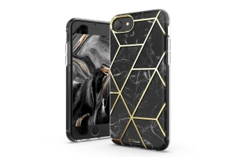 TITSHARK Marble Pattern Shockproof Tough High-quality stylish Case Cover For iPhone 6/7/8 Plus-Black