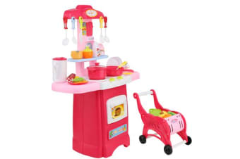 Keezi Kids Kitchen and Trolley Playset (Red)