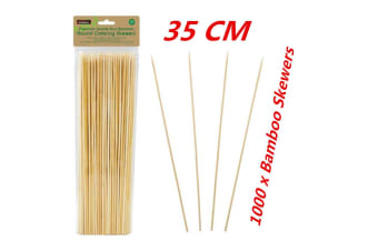 1000 x 35CM Bamboo Skewers Wooden Skewer BBQ Kebab Meat Bulk Cheap Stick Party Catering