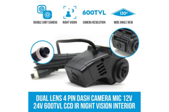 Elinz Dual Lens 4 PIN Dash Camera Mic 12V 24V 600TVL CCD IR Night Vision Interior DVR