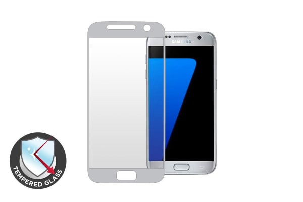 Premium Tempered Glass Screen Protector for Samsung Galaxy S7 (Silver)