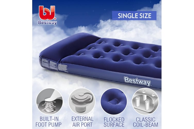 Bestway Air Bed Mattress with Built-in Foot Pump - Single