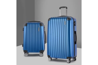 2pc Luggage Sets Suitcases Blue TSA Hard Case Lightweight Scale