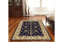 Classic Runner Rug Blue with Ivory Border