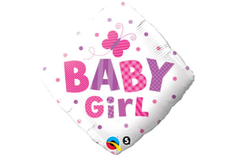 Qualatex 18 Inch Baby Boy/Girl Dragonfly/Butterfly Diamond Shaped Foil Balloon (White/Pink/Purple) (One Size)