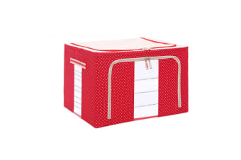 Large Capacity Clothing Box Waterproof And Moistureproof Quilt Receiving Box - Red Dots Red 66L(50X40X33)