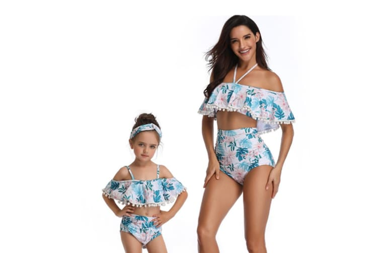 Floral Print High Waisted Bathing Suit Mommy And Daughter Swimwear Bikini Sets L