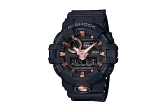 Casio G-Shock Analog Digital Watch with Resin Band - Black/Rose Gold (GA710B-1A4)