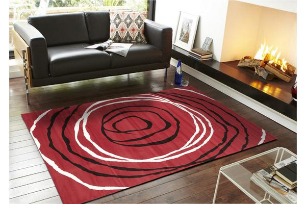 Modern Circles Pattern Red Black White 230x160cm