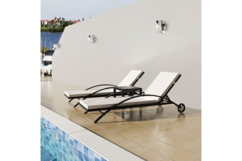 vidaXL Sun Loungers with Table Poly Rattan Black