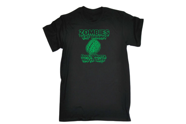 123T Funny Tee - Zombies Eat Brains - (4X-Large Black Mens T Shirt)