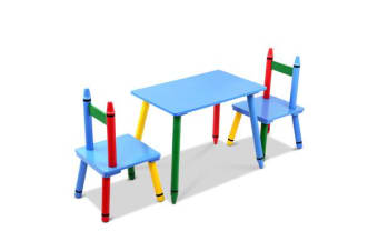 Keezi Kids 3 Piece Wooden Dining Set (Multi-Color)