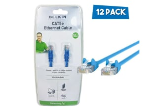 12PK Belkin 10M CAT5e Blue RJ45 Ethernet Patch Cable Cord Network LAN Connector